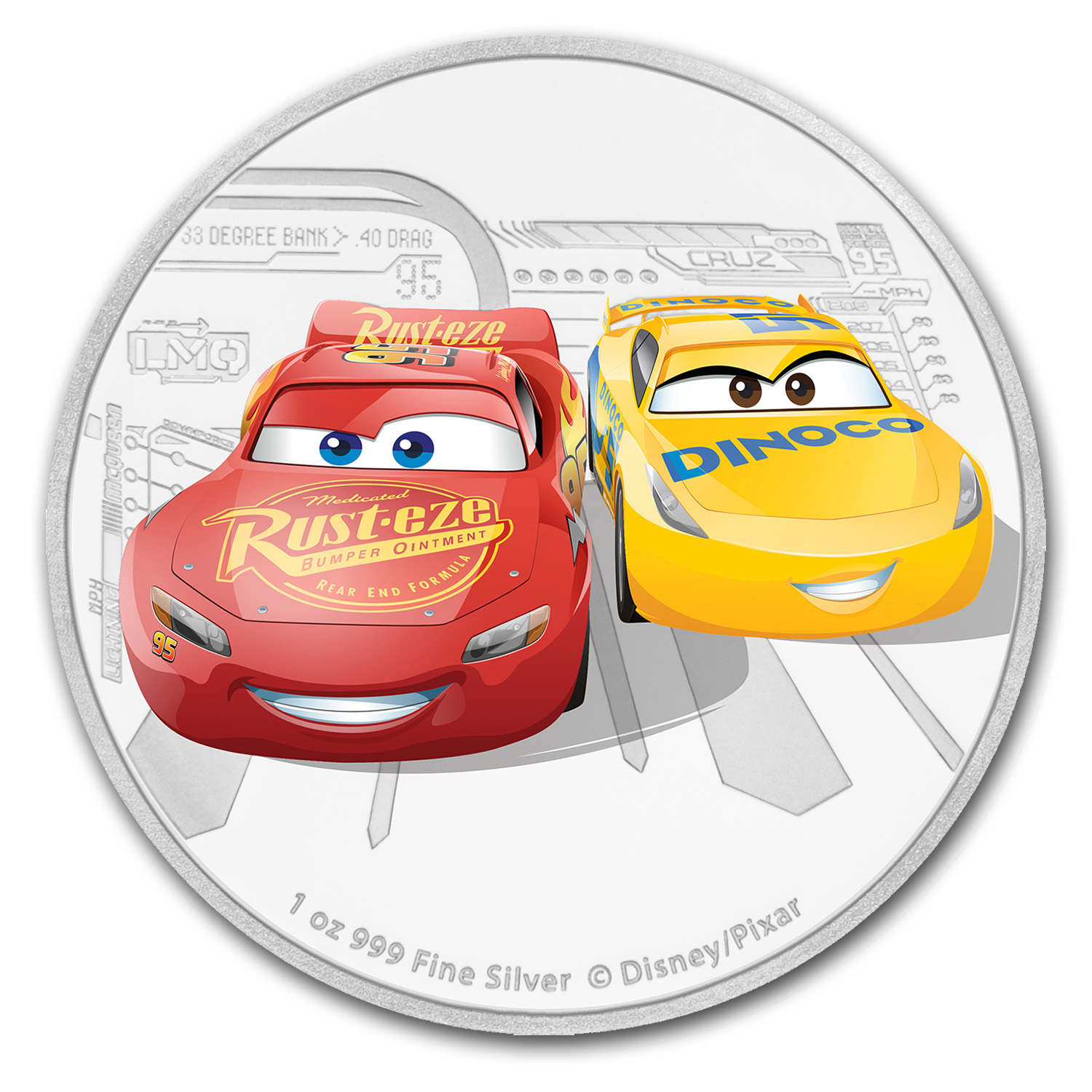 2017 Niue 1 oz Silver $2 Cars: Lightening McQueen & Cruz Ramirez